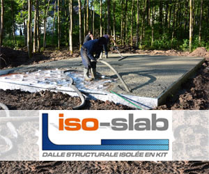 ISO-SLAB est une entreprise québécoise qui a développé une dalle structurale isolée en kit.