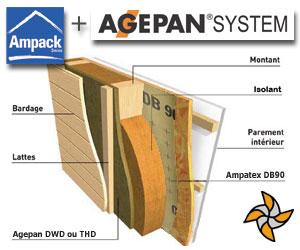 Agepan + Ampack: Agepan System - panneaux de fibres de bois, sans formaldéhyde, idéal pour la construction préfabriquée avec Ampack, membranes et rubans adhésifs avec colle acrylique