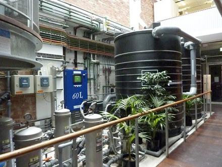 Système de récuopération des eaux de pluie dans un immeuble de bureaux à Melbourne, Australie. Photo Sara Finley.