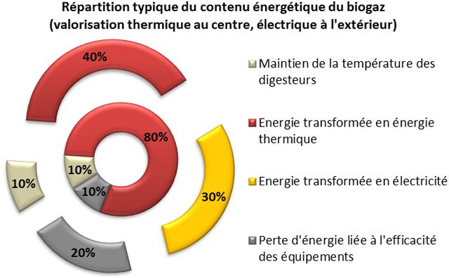 Répartition typique du contenu énergétique du biogaz