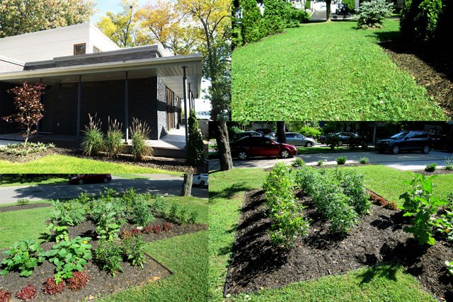 Maison papin ouellet une maison leed platine exemplaire for Devant de maison paysager