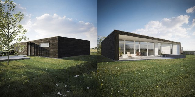 Une maison solaire passive au Royaume-Uni, façades sud et nord