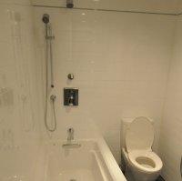 Une douche intégrée au bain
