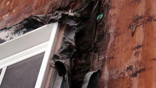Un exemple de structure endommagée par une infiltration d'eau et d'humidité